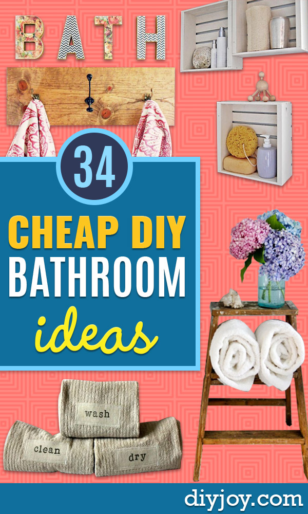 Cheap Bathroom Decor Ideas - DIY Decor and Home Decorating Ideas for Bathrooms - Easy Wall Art, Rugs and Bath Mats, Shower Curtains, Tissue and Toilet Paper Holders #diy #homedecor #bathroom