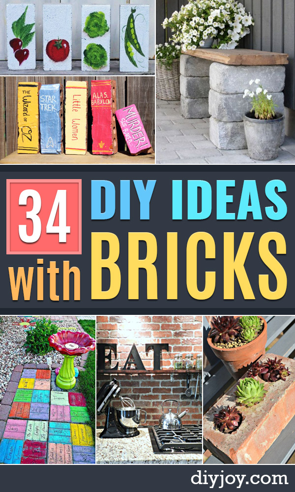DIY Ideas for Upcycled ProjectDYI Ideas With Bricks - Home Decor and Creative Do It Yourself Projects to Make With Bricks - Ideas for Patio, Walkway, Fireplace, Firepit, Mantle, Grill and Art - Inexpensive Decoration Tutorials With Step By Step Instruction for Brick