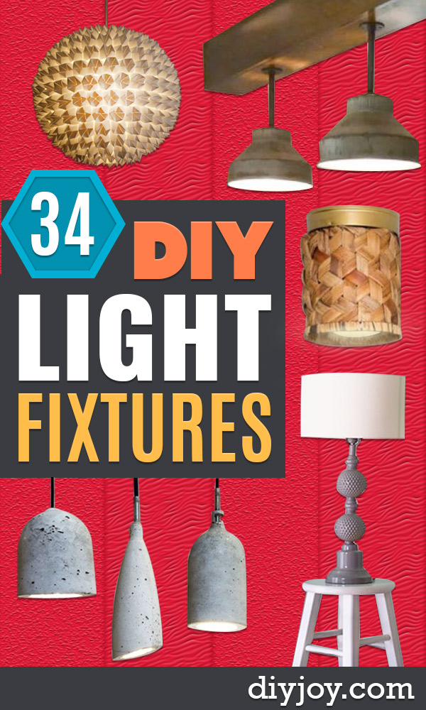DIY Lighting Ideas - Indoor Lighting for Bedroom, Kitchen, Bathroom and Home - Outdoor Do It Yourself Lighting Ideas for the Backyard, Patio, Porch Lights, Chandeliers, Lamps and String Lights https://diyjoy.com/diy-lighting-projects