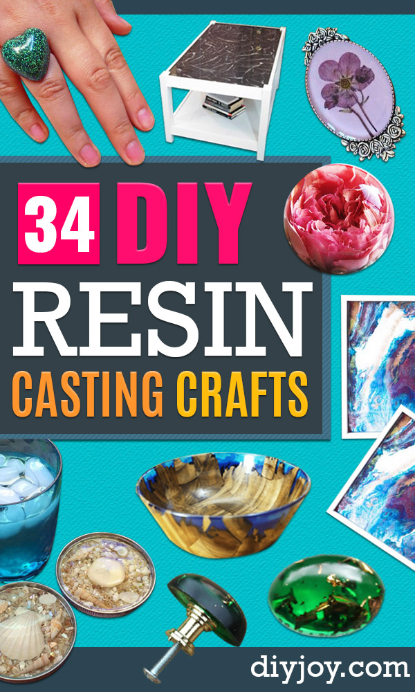 diy resin casting crafts - Homemade Resin and Epoxy Craft Projects and Ideas - How to Make Resin Jewelry - Use Silicon Molds to Make Paper Weights, Creative Christmas Ornaments and Crafts to Make and Sell - Flowers, Pictures, Clocks, Tabletop, Inspiration for Handmade Jewelry and Items to Sell on Etsy #crafts