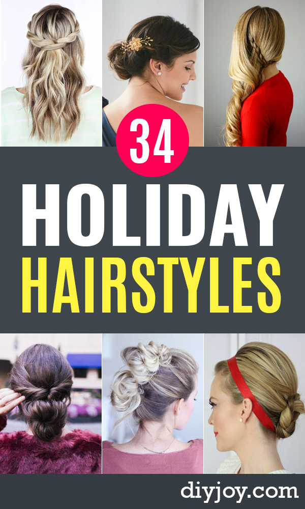 easy holiday hairstyles - Day to Night Holiday Hair - Cute DIY Hair Styles for Christmas and New Years Eve, Special Occasion - Updos, Braids, Buns, Ponytails, Half Up Half Down Looks