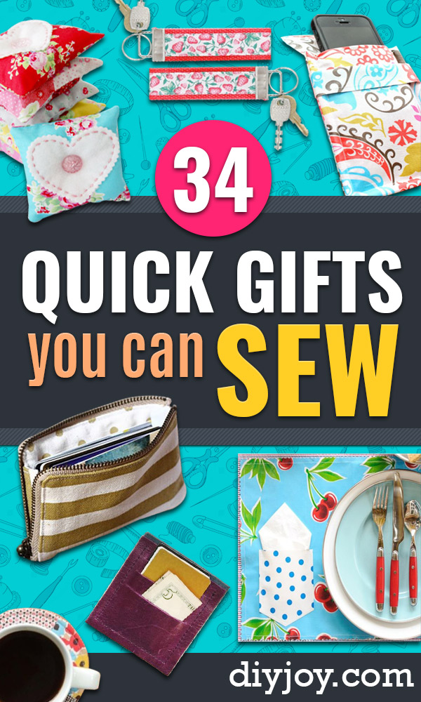 Easy Sewing Projects To Sew For Gifts - Simple Sewing Tutorials and Free Patterns for Making Christmas and Birthday Presents - Cheap Ideas to Make and Sell on Etsy http://diyjoy.com/quick-diy-gifts-sewing-projects - Simple Sewing Tutorials and Free Patterns for Making Christmas and Birthday Presents - Cheap Ideas to Make and Sell on Etsy