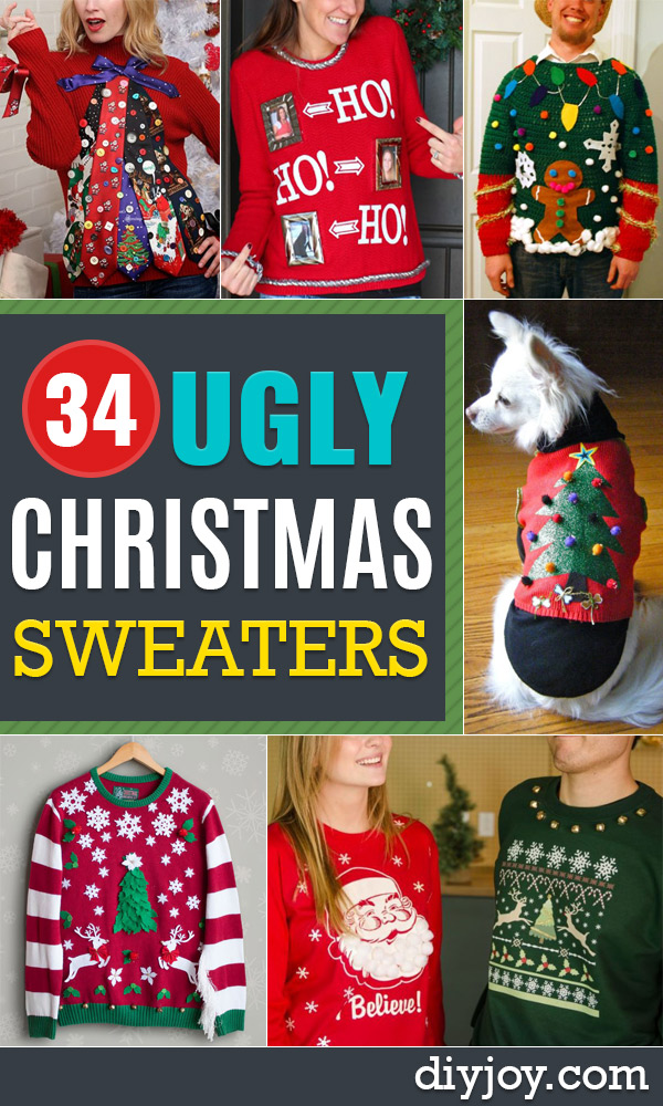 DIY Ugly Christmas Sweaters No Sew and Easy Sewing Projects - Ideas for Him and Her to Wear to Holiday Contest or Office Party Outfit - Funny Couples Sweater, Mens Womens and Kids https://diyjoy.com/diy-ugly-christmas-sweaters