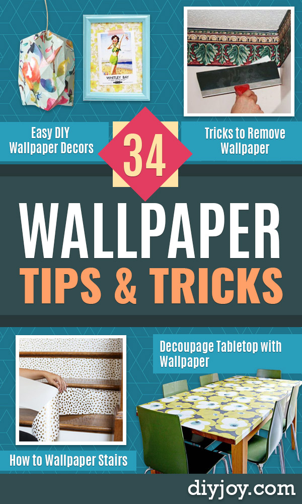 Wallpaper Tips and Tricks - Easy DIY Wallpapering Tutorials - How to Hang Wall Paper for Beginners - Step by Step Instructions and Cool Hacks for Hanging Wall Papers http://diyjoy.com/wallpaper-tips-tricks