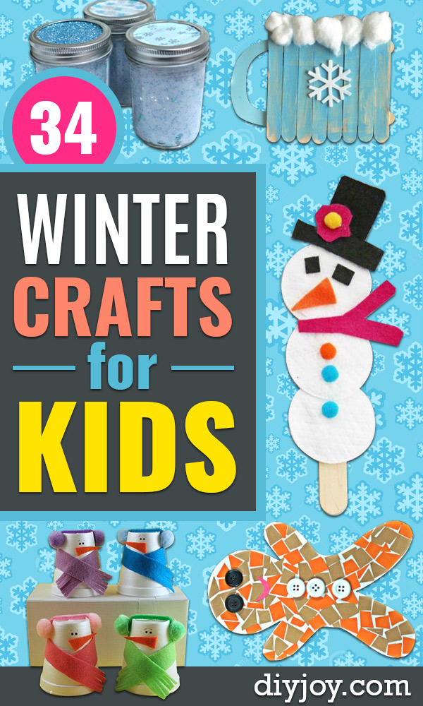 Winter Crafts for Toddlers and Kids - Easy Art Projects and Craft Ideas for 2 Year Olds, Preschool Age Children - Simple Indoor Activities, Things To Make At Home in Wintertime - Snow, Snowflake and Icicle, Snowmen - Classroom Art Projects - Busy Bags and Quick and Easy Gifts - Cheap Kid Crafts Projects #kidscrafts #craftsforkids #winter