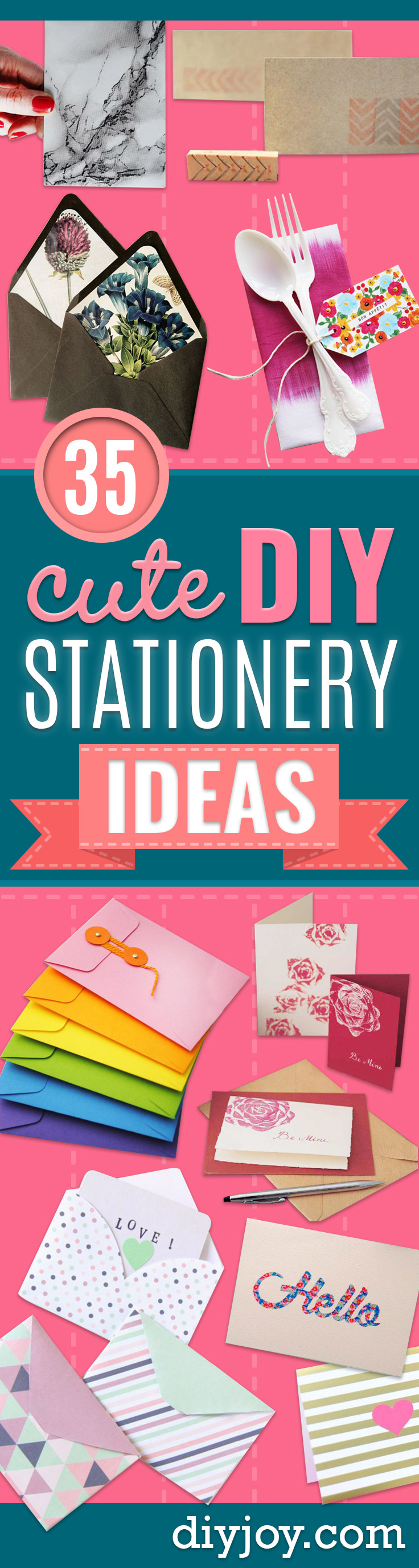 DIY Stationery Ideas - Easy Projects for Making, Decorating and Embellishing Stationary - Cute Personal Papers and Cards With Creative Art Ideas and Designs - Monogram and Brush Lettering Tips and Tutorials for Envelopes and Notebook - Stencil, Marble, Paint and Ink, Emboss Tutorials - A Handmade Card Set or Box Makes An Awesome DIY Gift Idea - Printables and Cool Ideas for Kids http://diyjoy.com/diy-stationery-ideas