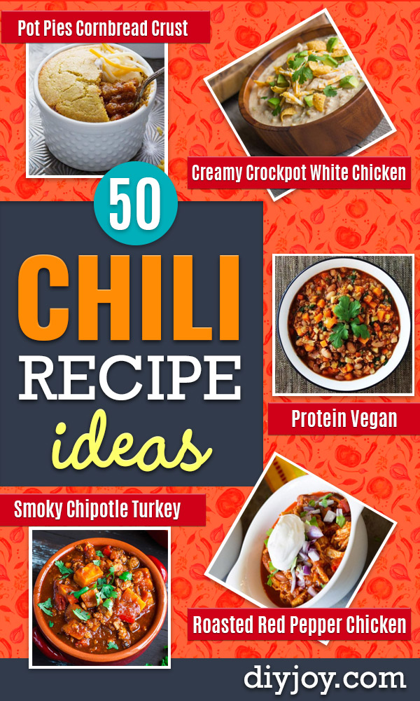 Chili Recipes - Easy Crockpot, Instant Pot and Stovetop Chili Ideas - Healthy Weight Watchers, Pioneer Woman - No Beans, Beef, Turkey, Chicken  #chili #recipes