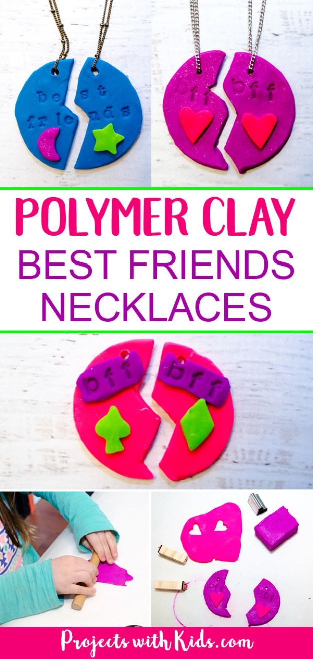 Easy Crafts for Kids - Adorable Polymer Clay Best Friends Necklaces - Quick DIY Ideas for Children - Boys and Girls Love These Cool Craft Projects - Indoor and Outdoor Fun at Home - Cheap Playtime Activities #kidscrafts