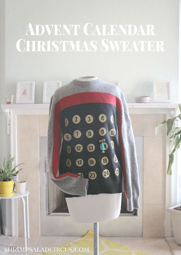 DIY Ugly Christmas Sweaters - Advent Calendar Christmas Sweater - No Sew and Easy Sewing Projects - Ideas for Him and Her to Wear to Holiday Contest or Office Party Outfit - Funny Couples Sweater, Mens Womens and Kids #christmas