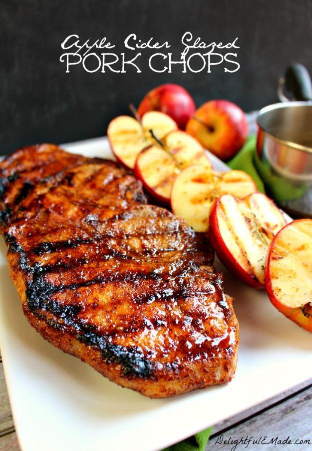 Pork Chop Recipes - Apple Cider Glazed Pork Chops - Best Recipe Ideas for Pork Chops - Healthy Baked, Grilled and Crockpot Dishes - Easy Boneless Skillet Chops #recipes #porkrecipes #porkchops