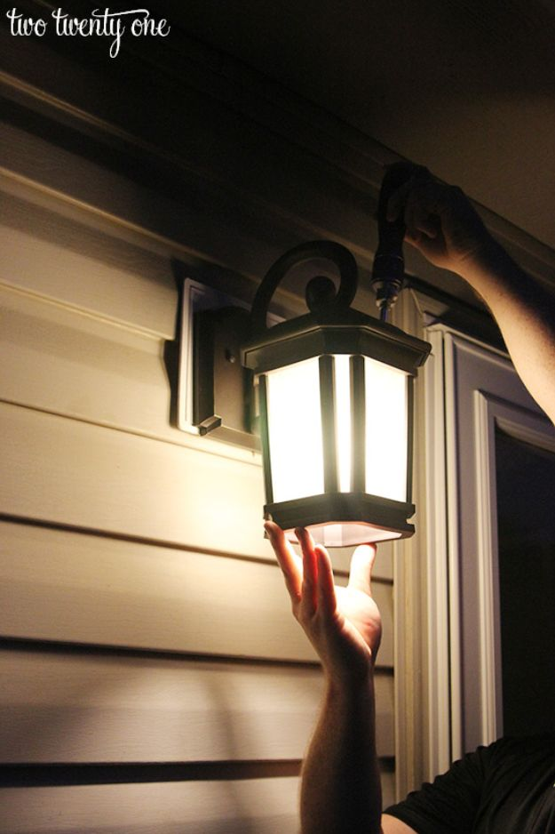DIY Outdoor Lighting Ideas - Back Patio Light - Do It Yourself Lighting Ideas for the Backyard, Patio, Porch and Pool - Lights, Chandeliers, Lamps and String Lights for Your Outdoors - Dining Table and Chair Lighting, Overhead, Sconces and Weatherproof Projects - Walkway, Pool and Garden http://diyjoy.com/diy-outdoor-lighting-ideas
