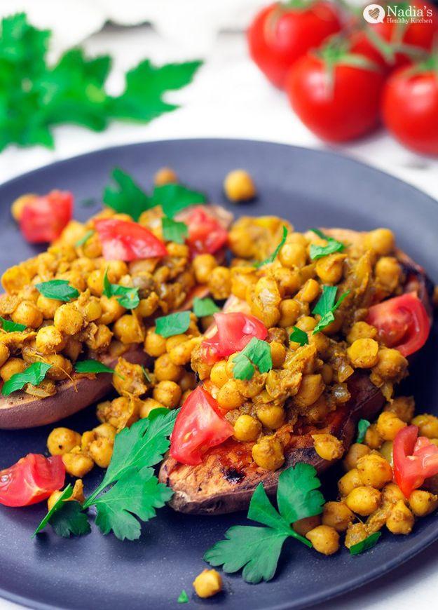 Vegan Recipes - Baked Sweet Potato With Garam Masala Chickpeas - Easy, Healthy Plant Based Foods - Gluten Free Breakfast, Lunch and Dessert - Keto Diet for Beginners  #vegan #veganrecipes