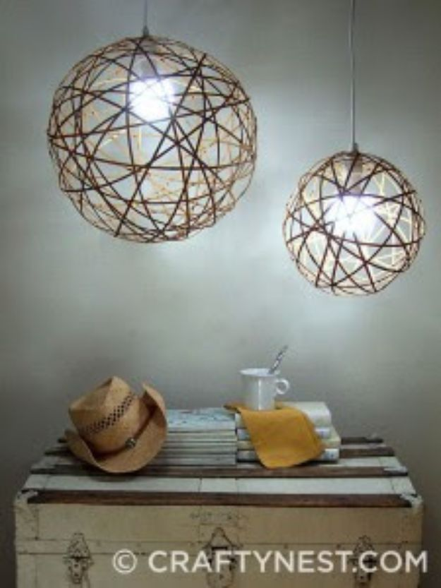 DIY Lighting Ideas - Bamboo Orb Pendant Lights - Indoor Lighting for Bedroom, Kitchen, Bathroom and Home - Outdoor Do It Yourself Lighting Ideas for the Backyard, Patio, Porch Lights, Chandeliers #diy
