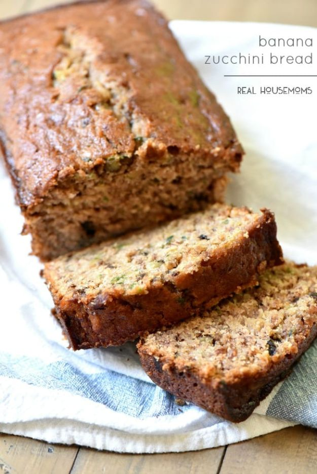 Breakfast Breads - Banana Zucchini Bread - Homemade Breakfast Bread Recipes - Healthy Fruit, Nut, Banana and Vegetable Recipe Ideas - Best Brunch Dishes #breakfastrecipes #brunch https://diyjoy.com/breakfast-bread-recipes