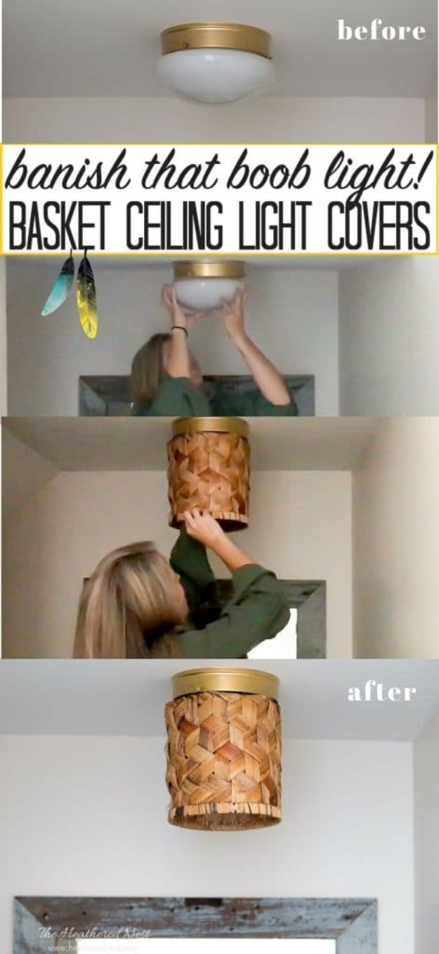 DIY Lighting Ideas - Basket Ceiling Light - Indoor Lighting for Bedroom, Kitchen, Bathroom and Home - Outdoor Do It Yourself Lighting Ideas for the Backyard, Patio, Porch Lights, Chandeliers, Lamps and String Lights https://diyjoy.com/diy-lighting-projects