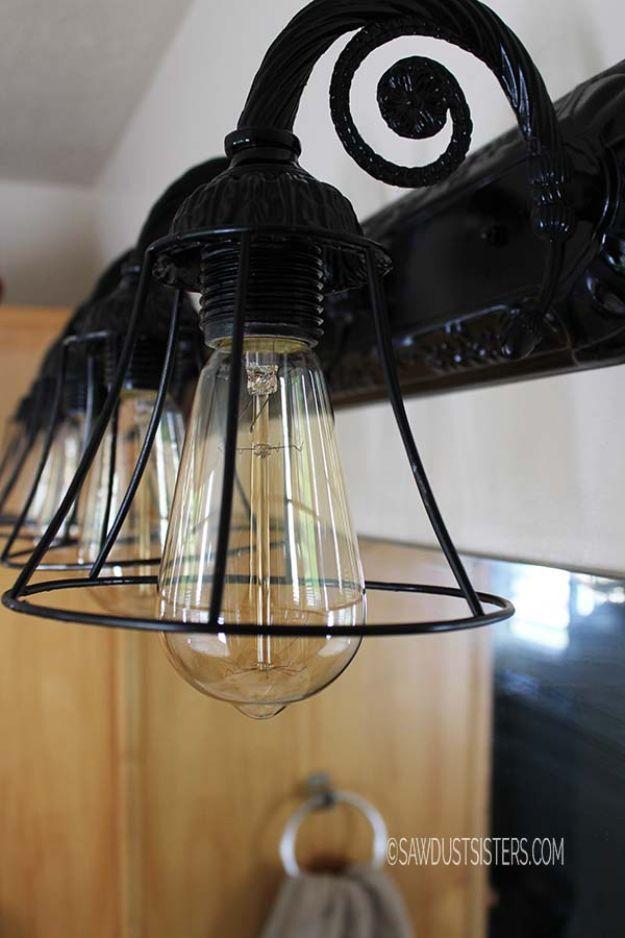 DIY Lighting Ideas - Bathroom Light Fixture Makeover - Indoor Lighting for Bedroom, Kitchen, Bathroom and Home - Outdoor Do It Yourself Lighting Ideas for the Backyard, Patio, Porch Lights, Chandeliers, Lamps and String Lights https://diyjoy.com/diy-lighting-projects