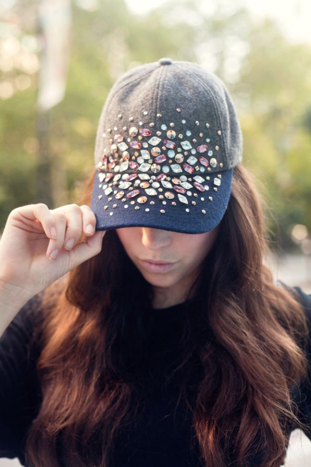 DIY Hats - Bedazzled Cap - Creative Do It Yourself Hat Tutorials for Making a Hat - Step by Step Tutorial for Cute and Easy Baseball Hat, Cowboy Hat, Flowers or Floral Tea Party Ideas, Kids and Adults, Knit Cap for Babies http://diyjoy.com/diy-hats