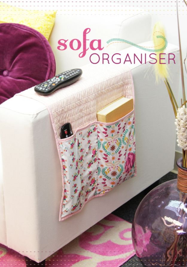 Easy Sewing Projects To Sew For Gifts - Bijoux Sofa Organiser - Simple Sewing Tutorials and Free Patterns for Making Christmas and Birthday Presents - Cheap Ideas to Make and Sell on Etsy http://diyjoy.com/quick-diy-gifts-sewing-projects - Simple Sewing Tutorials and Free Patterns for Making Christmas and Birthday Presents - Cheap Ideas to Make and Sell on Etsy http://diyjoy.com/quick-diy-gifts-sewing-projects