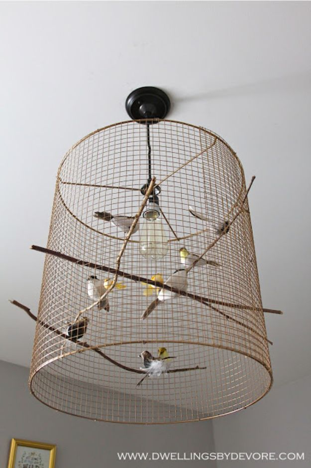 DIY Lighting Ideas - Birdcage Pendant Light - Indoor Lighting for Bedroom, Kitchen, Bathroom and Home - Outdoor Do It Yourself Lighting Ideas for the Backyard, Patio, Porch Lights, Chandeliers, Lamps and String Lights https://diyjoy.com/diy-lighting-projects
