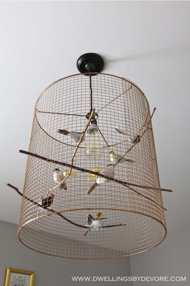 DIY Lighting Ideas - Birdcage Pendant Light - Indoor Lighting for Bedroom, Kitchen, Bathroom and Home - Outdoor Do It Yourself Lighting Ideas for the Backyard, Patio, Porch Lights, Chandeliers #diy
