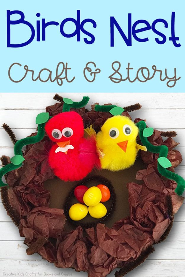 Easy Crafts for Kids - Birds Nest Craft - Quick DIY Ideas for Children - Boys and Girls Love These Cool Craft Projects - Indoor and Outdoor Fun at Home - Cheap Playtime Activities #kidscrafts