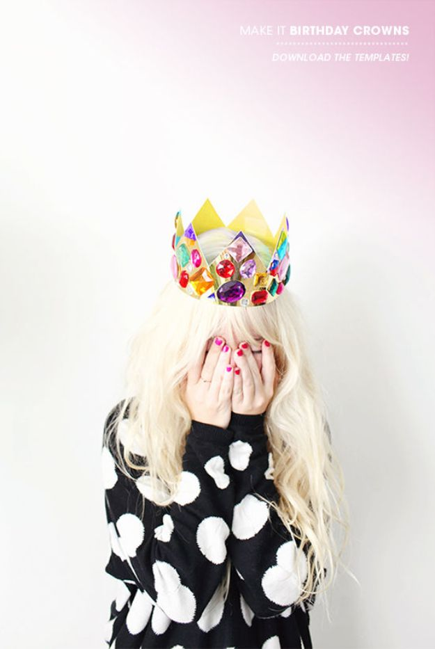 DIY Hats - Birthday Crown Hat - Creative Do It Yourself Hat Tutorials for Making a Hat - Step by Step Tutorial for Cute and Easy Baseball Hat, Cowboy Hat, Flowers or Floral Tea Party Ideas, Kids and Adults, Knit Cap for Babies http://diyjoy.com/diy-hats