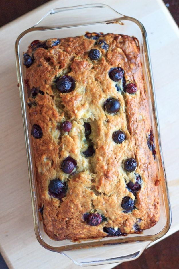 Breakfast Breads - Blueberry Banana Bread- Homemade Breakfast Bread Recipes - Healthy Fruit, Nut, Banana and Vegetable Recipe Ideas - Best Brunch Dishes