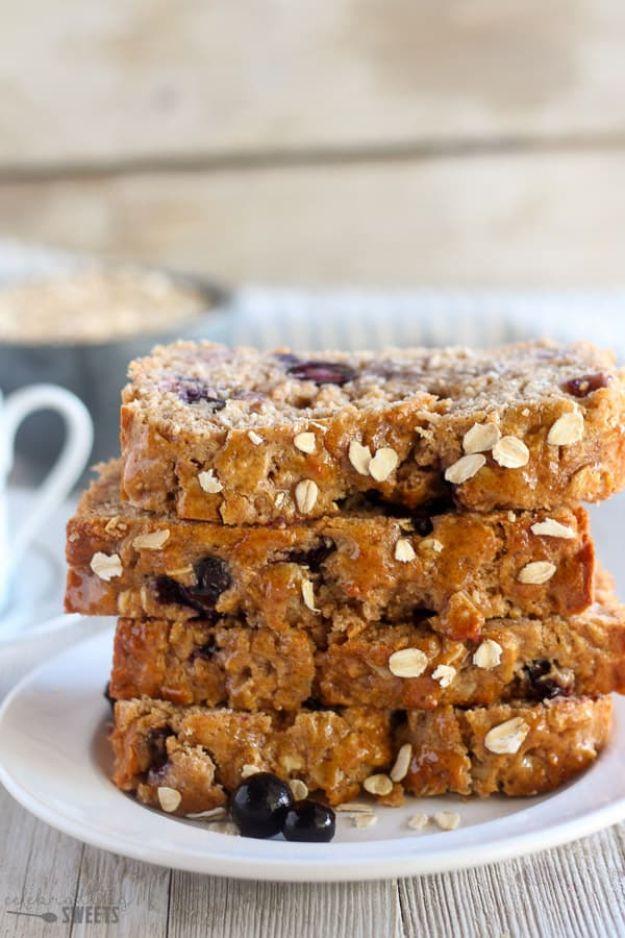 Breakfast Breads - Blueberry Oatmeal Bread - Homemade Breakfast Bread Recipes - Healthy Fruit, Nut, Banana and Vegetable Recipe Ideas - Best Brunch Dishes