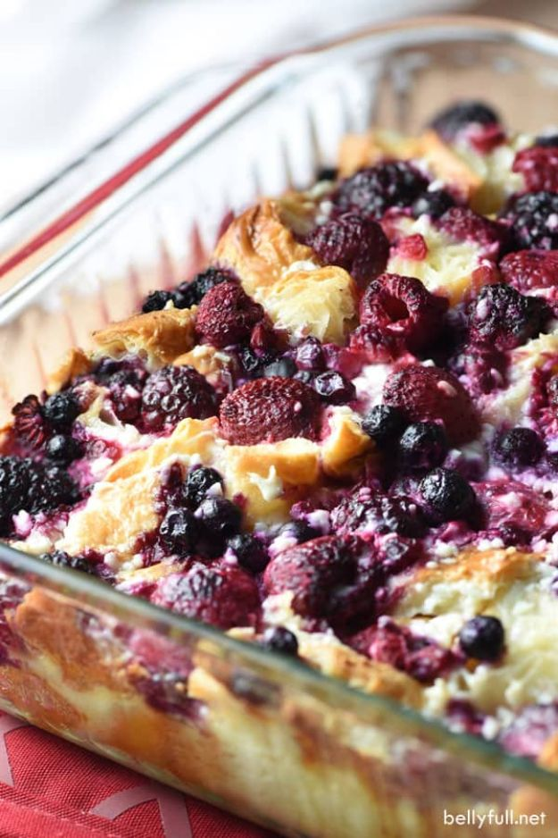 Breakfast Breads - Blueberry and Raspberry Croissant Puff - Homemade Breakfast Bread Recipes - Healthy Fruit, Nut, Banana and Vegetable Recipe Ideas - Best Brunch Dishes