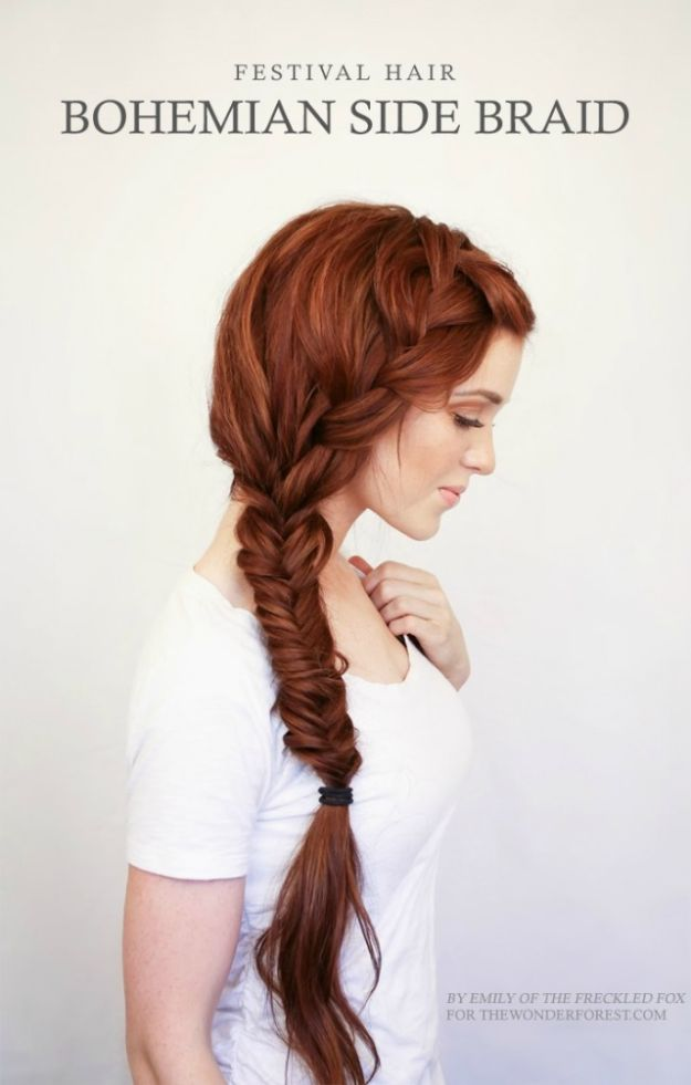 Simple Holiday Hairstyles - Bohemian Side Braid - Cute DIY Hair Styles for Christmas and New Years Eve, Special Occasion - Updos, Braids, Buns, Ponytails, Half Up Half Down Looks #hairstyles