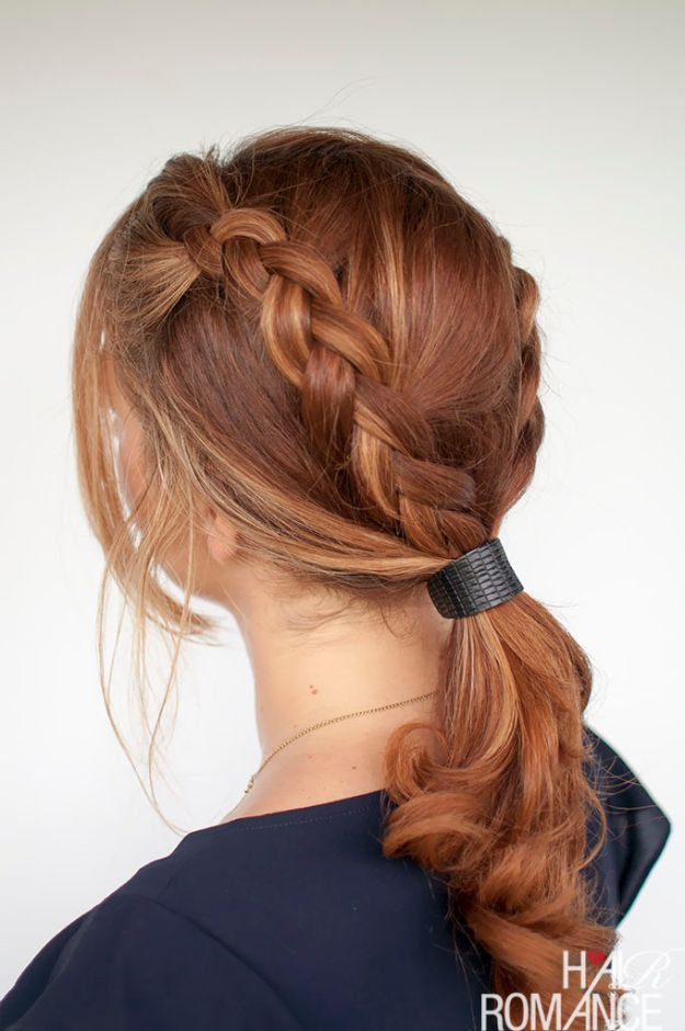 Holiday Hairstyles -Braided Ponytail With Cuff - Cute DIY Hair Styles for Christmas and New Years Eve, Special Occasion - Updos, Braids, Buns, Ponytails, Half Up Half Down Looks  #hairstyles