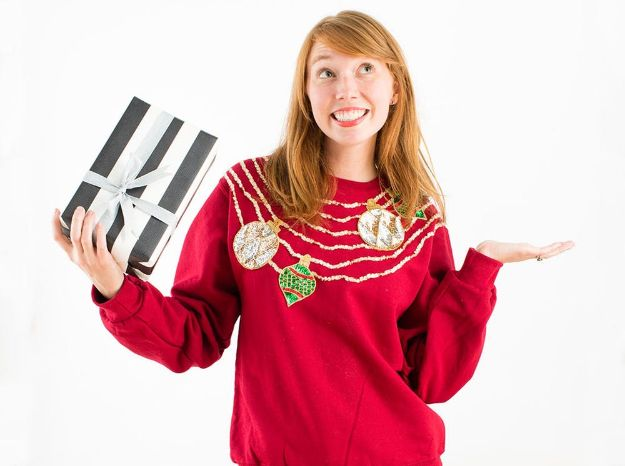 DIY Ugly Christmas Sweaters - Brit + Bow & Drape Tacky Holiday Christmas Sweater - No Sew and Easy Sewing Projects - Ideas for Him and Her to Wear to Holiday Contest or Office Party Outfit - Funny Couples Sweater, Mens Womens and Kids #christmas