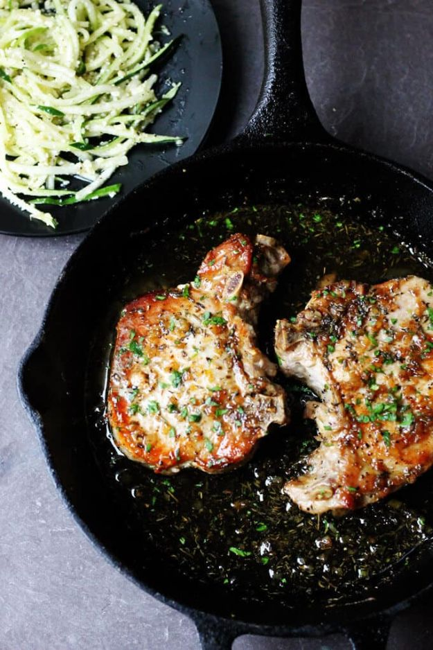 Pork Chop Recipes - Brown Sugar Pork Chops with Garlic and Herbs - Best Recipe Ideas for Pork Chops - Healthy Baked, Grilled and Crockpot Dishes - Easy Boneless Skillet Chops https://diyjoy.com/pork-chop-recipes