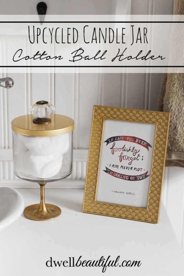 Cheap Bathroom Decor Ideas - Candle Jar Cotton Ball Holder - DIY Decor and Home Decorating Ideas for Bathrooms - Easy Wall Art, Rugs and Bath Mats, Shower Curtains, Tissue and Toilet Paper Holders https://diyjoy.com/cheap-diy-bathroom-decor