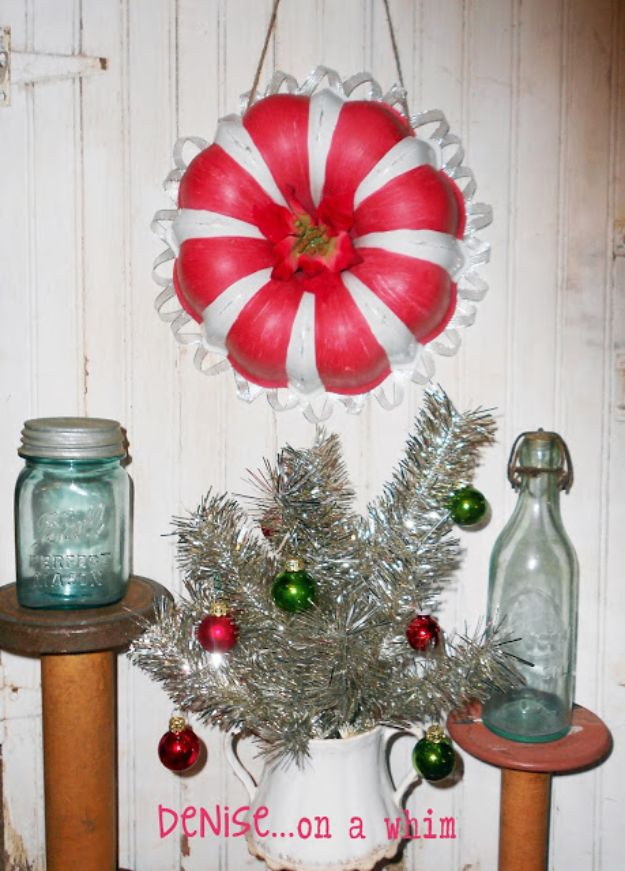 DIY Christmas Decorations - Candy Cane Wreath- Easy Handmade Christmas Decor Ideas - Cheap Xmas Projects to Make for Holiday Decorating - Home, Porch, Mantle, Tree, Lights #diy #christmas #diydecor #holiday