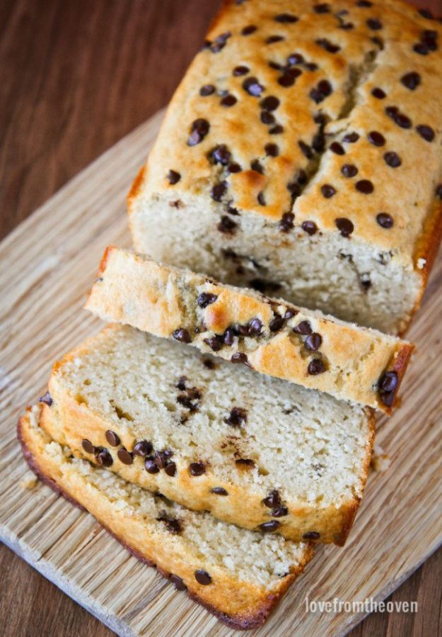 Breakfast Breads - Chocolate Chip Loaf - Homemade Breakfast Bread Recipes - Healthy Fruit, Nut, Banana and Vegetable Recipe Ideas - Best Brunch Dishes #breakfastrecipes #brunch https://diyjoy.com/breakfast-bread-recipes