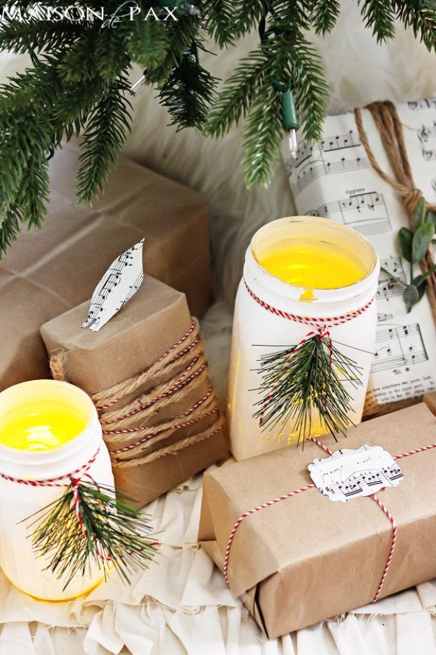 DIY Christmas Decorations - Christmas Mason Jar Luminaries - Easy Handmade Christmas Decor Ideas - Cheap Xmas Projects to Make for Holiday Decorating - Home, Porch, Mantle, Tree, Lights #diy #christmas #diydecor #holiday