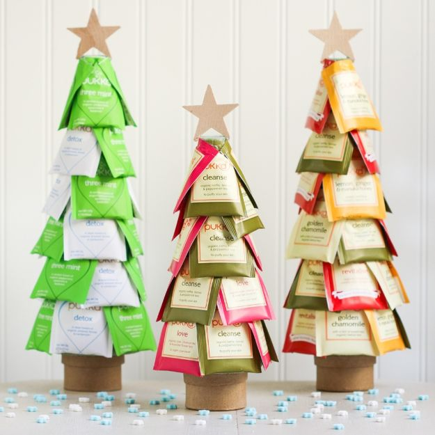 DIY Christmas Gifts - Christmas Tea Trees - Easy Handmade Gift Ideas for Xmas Presents - Cheap Projects to Make for Holiday Gift Giving - Mom, Dad, Boyfriend, Girlfriend, Husband, Wife #diygifts #christmasgifts