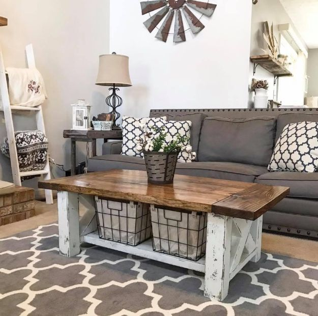 Magnolia Homes Decor Ideas - Chunky Farmhouse Coffee Table - DIY Decor Inspired by Chip and Joanna Gaines - Fixer Upper Dining Room, Coffee Tables, Light Fixtures for Your House - Do It Yourself Decorating On A Budget With Farmhouse Style Decorations for the Home