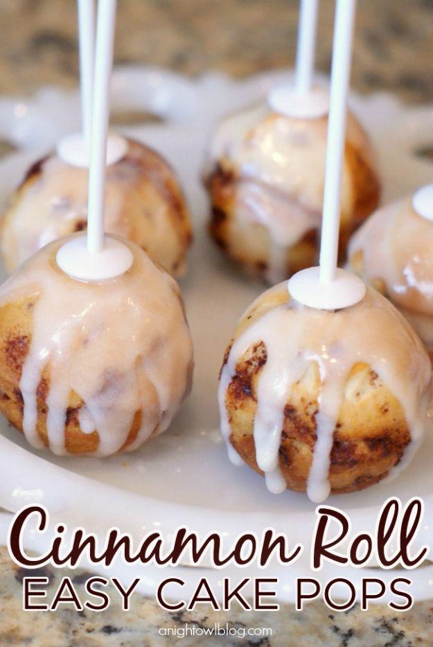 Cake Pop Recipes and Ideas - Cinnamon Roll Cake Pops - Easy Recipe for Chocolate, Funfetti Birthday, Oreo, Red Velvet - Wedding and Christmas DIY #dessertrecipes #cakepops https://diyjoy.com/cake-pop-recipes