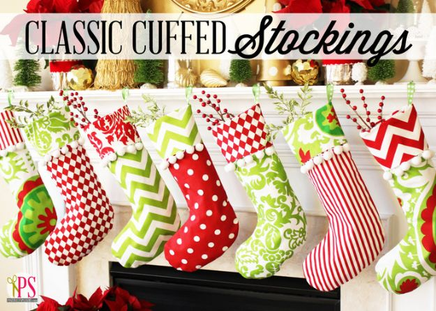 DIY Christmas Decorations - Classic Cuffed Stockings - Easy Handmade Christmas Decor Ideas - Cheap Xmas Projects to Make for Holiday Decorating - Home, Porch, Mantle, Tree, Lights #diy #christmas #diydecor #holiday