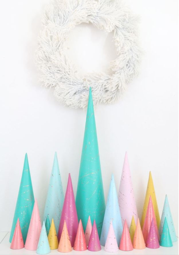 DIY Christmas Decorations - Copper Splatter Painted Modern Christmas Trees - Easy Handmade Christmas Decor Ideas - Cheap Xmas Projects to Make for Holiday Decorating - Home, Porch, Mantle, Tree, Lights #diy #christmas #diydecor #holiday