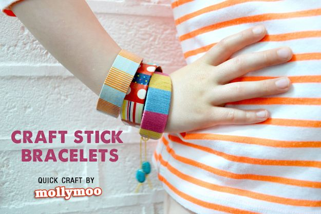 Easy Crafts for Kids - Craft Stick Bracelets - Quick DIY Ideas for Children - Boys and Girls Love These Cool Craft Projects - Indoor and Outdoor Fun at Home - Cheap Playtime Activities #kidscrafts