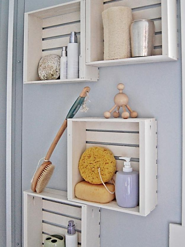 Cheap Bathroom Decor Ideas - Crate Shelving - DIY Decor and Home Decorating Ideas for Bathrooms - Easy Wall Art, Rugs and Bath Mats, Shower Curtains, Tissue and Toilet Paper Holders #diy #bathroom #homedecor