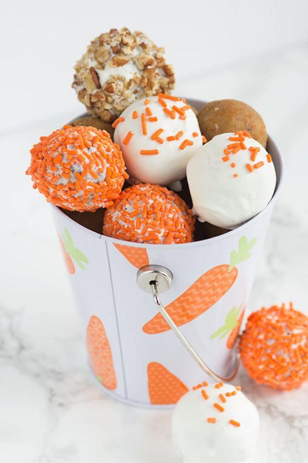 Cake Pop Recipes and Ideas - Cream Cheese Carrot Cake Cake Pops - How to Make Cake Pops - Easy Recipe for Chocolate, Funfetti Birthday, Oreo, Red Velvet - Wedding and Christmas DIY #dessertrecipes #cakepops https://diyjoy.com/cake-pop-recipes