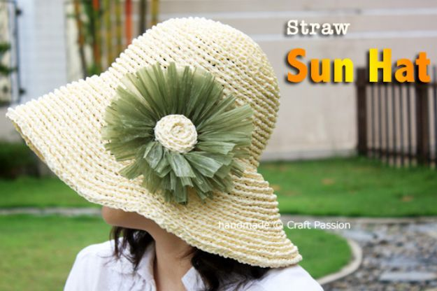 DIY Hats - Crochet Straw Sun Hat - Creative Do It Yourself Hat Tutorials for Making a Hat - Step by Step Tutorial for Cute and Easy Baseball Hat, Cowboy Hat, Flowers or Floral Tea Party Ideas, Kids and Adults, Knit Cap for Babies #hats #diyclothes