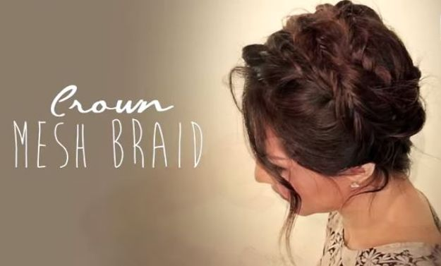 Holiday Hairstyles - Crown Mesh Braid - Cute DIY Hair Styles for Christmas and New Years Eve, Special Occasion - Updos, Braids, Buns, Ponytails, Half Up Half Down Looks #hairstyles