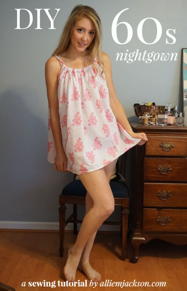 DIY Nightgowns and Sleepwear - DIY '60s Night Gown - Easy Sewing Projects for Cute Nightshirts, Tshirts, Gowns and Pajamas - Free Patterns and Step by Step Tutorials #womensclothing #sleepwear #diyclothes #sewing
