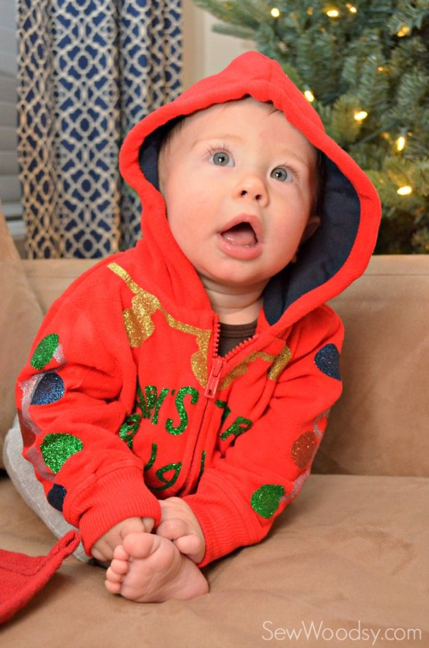 DIY Ugly Christmas Sweaters - DIY Baby's First Ugly Christmas Sweater - No Sew and Easy Sewing Projects - Ideas for Him and Her to Wear to Holiday Contest or Office Party Outfit - Funny Couples Sweater, Mens Womens and Kids #christmas