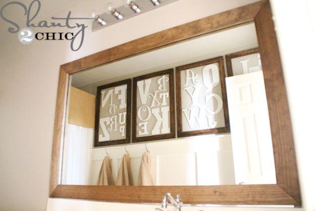 Cheap Bathroom Decor Ideas - DIY Bathroom Mirror Upgrade - DIY Decor and Home Decorating Ideas for Bathrooms - Easy Wall Art, Rugs and Bath Mats, Shower Curtains, Tissue and Toilet Paper Holders https://diyjoy.com/cheap-diy-bathroom-decor